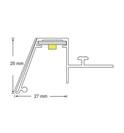 Brandline 25 mm fixare deasupra raft cu sina T si profil ghidaj